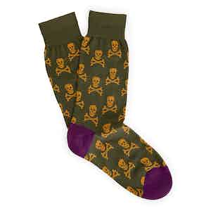 Green Skull and Crossbones Long Cotton Socks