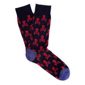 Navy and Red Skull and Crossbones Long Cotton Socks