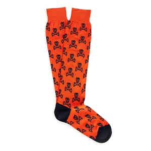 Orange Skull and Crossbones Long Cotton Socks