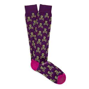 Purple and Green Skull and Crossbones Long Cotton Socks
