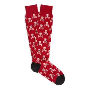 Red and White Skull and Crossbones Long Cotton Socks