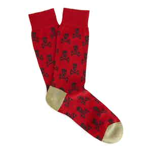 Red and Green Skull and Crossbones Long Cotton Socks