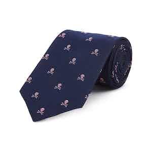 Navy And Pink Skull and Crossbones Silk Tie