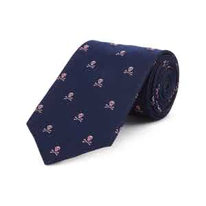 Navy And Pink Skull and Crossbones Silk Tie