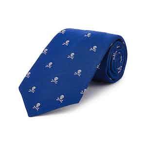 Royal Blue Skull and Crossbones Silk Tie