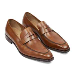 Tan Burnished Leather George Penny Loafers