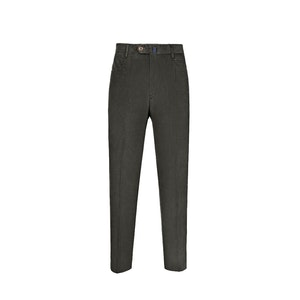 Green Corduroy Flat-Fronted Trousers