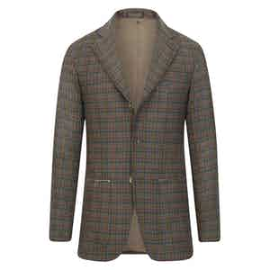 Brown Cashmere Gun Club Check Single-Breasted Jacket
