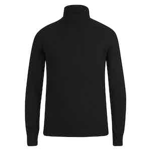 Black Cashmere Ribbed Rollneck