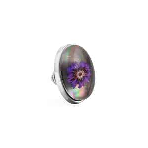 Silver and Purple Flower Lapel Pin