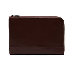 Chocolate Brown Goat Leather Medium Zip Pouch