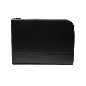 Black Goat Leather Large Zip Portfolio