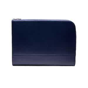 Marine Blue Goat Leather Large Zip Portfolio