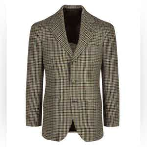Beige and Camel Wool Gun Check Single-Breasted Jacket