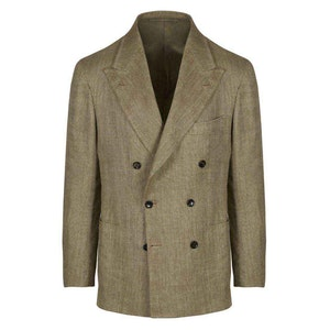 Beige Silk, Linen and Wool Double-Breasted Jacket