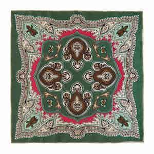 Green Lipari Silk Patterned Pocket Square