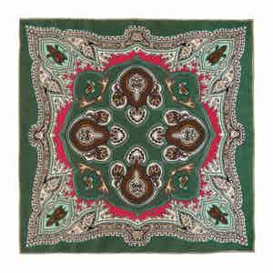 Green Lipari Silk Patterned Pocket Square