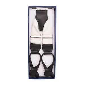 White Moire Silk Button-Only Braces