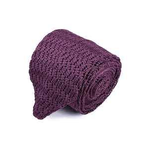 Burgundy Silk Zig Zag Knitted v-Point Tie
