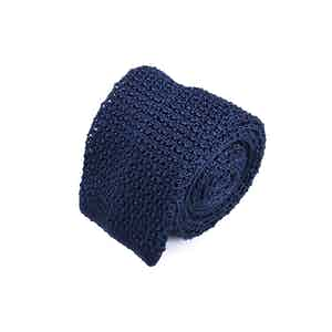 Navy Blue Silk Crochet Knitted Square-Ended Tie