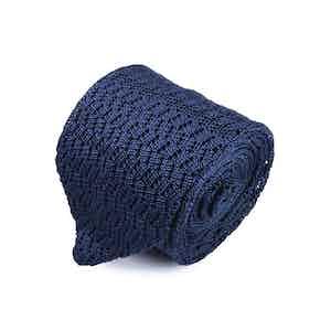 Navy Blue Silk Zig Zag Knitted V-Point Tie