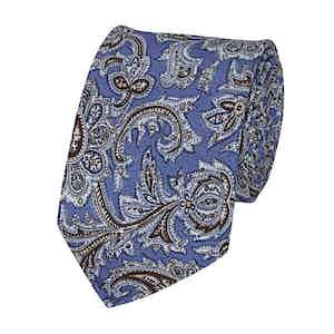 Light Blue Silk Paisley Patterned Tie