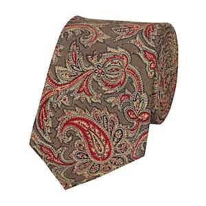 Brown Silk Paisley Patterned Tie