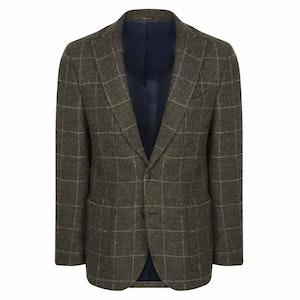 Olive Green Harris Tweed Ronan Jacket with Windowpane Check