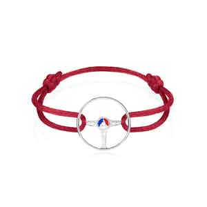 24H Le Mans Steering Wheel Sterling Silver on Magma Red cord