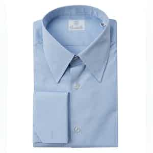 Blue Double Twisted Cotton Poplin Mulberry Street Shirt