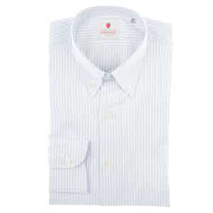 Azure and White Cotton Oxford Striped Shirt