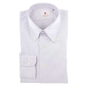 Lilac and White Cotton Oxford Striped Shirt