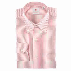 Red and White Cotton Oxford Striped Shirt