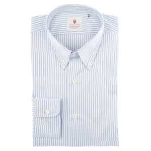 White and Blue Cotton Oxford Striped Shirt