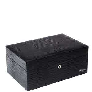 Black Crocodile-Pattern Leather Humidor for 150 Cigars