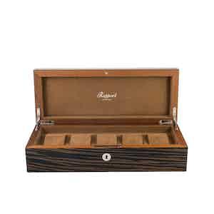 Macassar-Veneered Composite Wood 5 Watch Collector Box