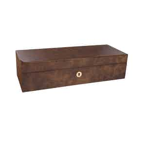 Burr Walnut-Veneered Composite Wood 5 Watch Collector Box