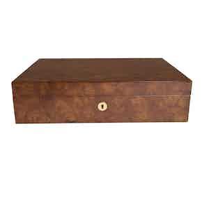 Burr Walnut-Veneered Composite Wood 10 Watch Collector Box