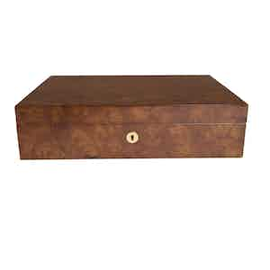 Burr Walnut-Veneered Composite Wood 10 Watch Collector Box