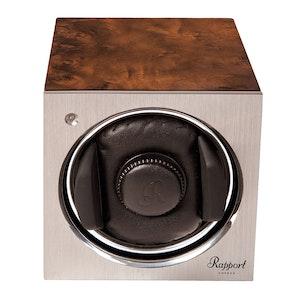 Walnut Veneered Composite Wood with Aluminium Plate Single Watch Winder