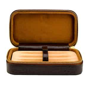 Brown Crocodile-Pattern Leather Case For 3 Cigars