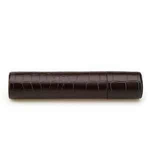 Brown Crocodile-Pattern Leather Single Cigar Case