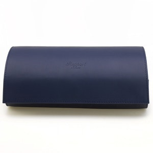 Blue Leather Hyde Park Dual Watch Roll With Removable Section