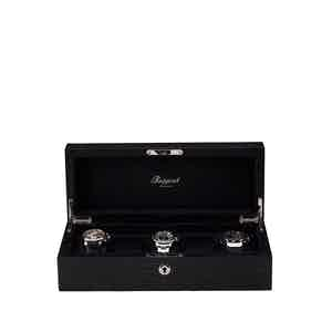 Black Crocodile-Patten Leather 5 Watch Collectors Box