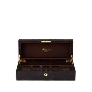 Brown Crocodile-Patten Leather 5 Watch Collectors Box