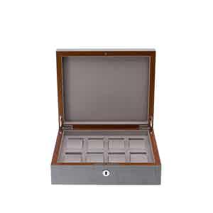 Grey Lacquered Composite Wood Heritage 8-Watch Box