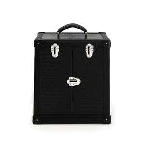 Black Composite Wood and Crocodile-Patterned Leather Front-Opening Deluxe Trunk