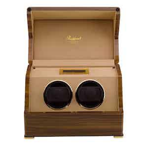 Walnut Veneered Composite Wood Perpetua III Duo Watch Winder