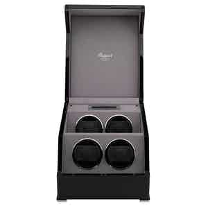 Black Lacquered Composite Wood Perpetua III Quad Watch Winder
