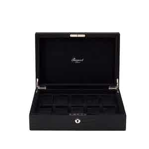 Black Crocodile-Pattern Leather and Wood 10-Watch Box